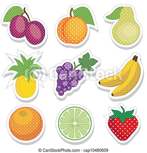 Fruit Stickers in Polka Dots - csp10480609