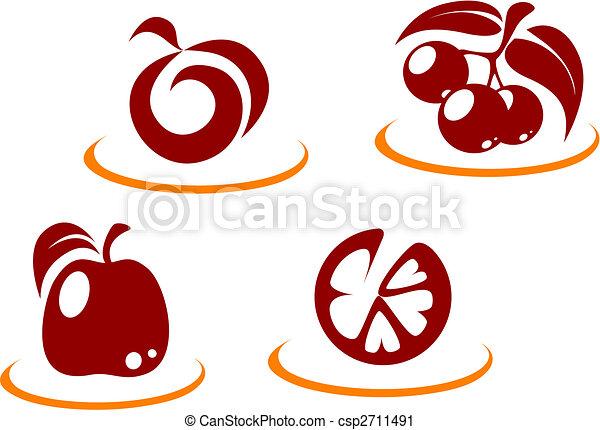 Fruit Symbols Fresh Fruit Symbols For Design Or Concept