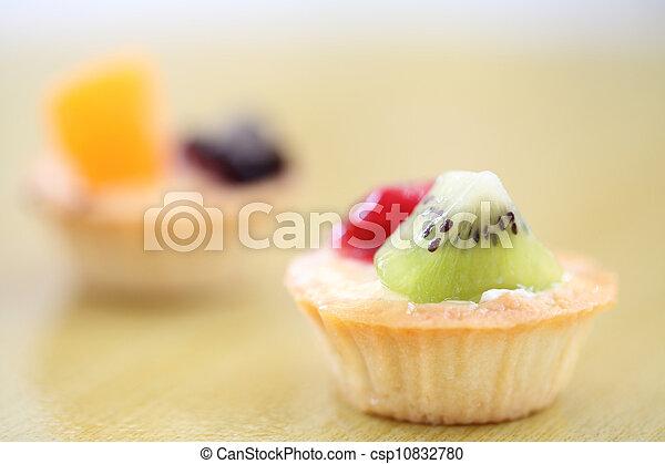 Fruit tart on wood background - csp10832780