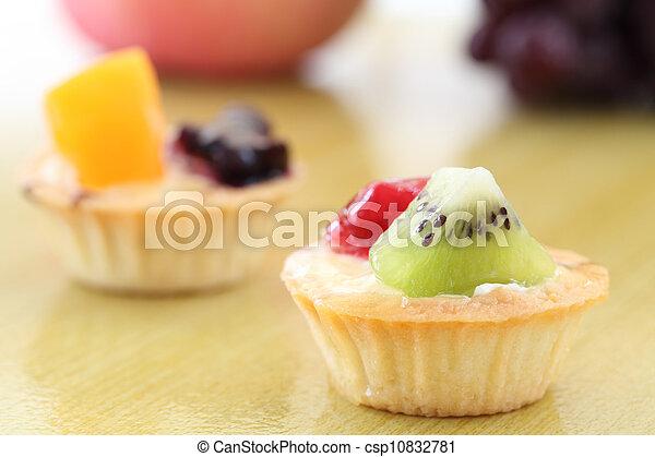 Fruit tart on wood background - csp10832781
