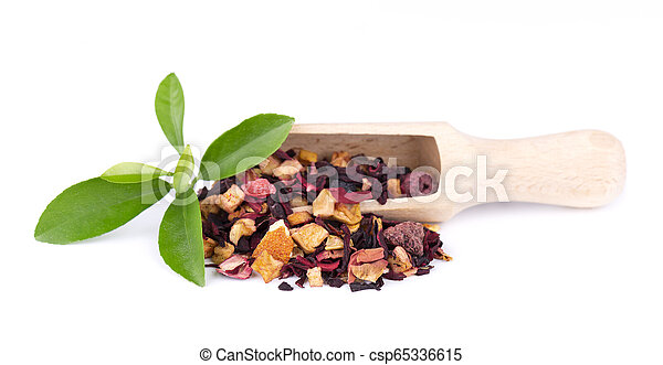 Fruit tea with hibiscus, apple, raspberry, rose petals and dog-rose, isolated on white background. - csp65336615