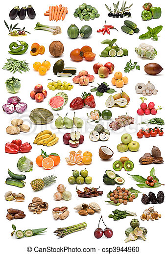 Fruit, vegetables, nuts and spices. - csp3944960