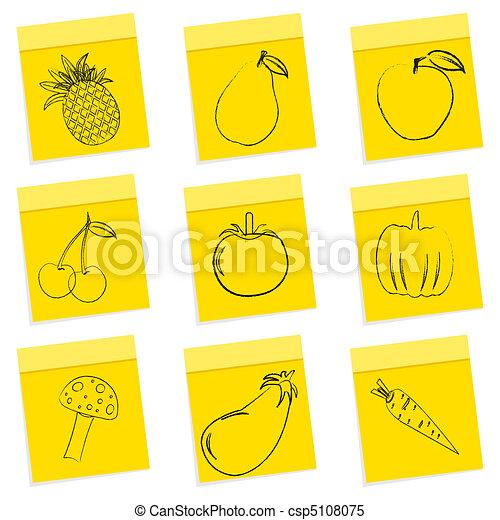 fruit & vegetables sketch - csp5108075