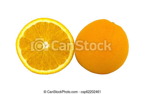 fruit, vrijstaand, voedsel., achtergrond., sinaasappel, witte  - csp62202461
