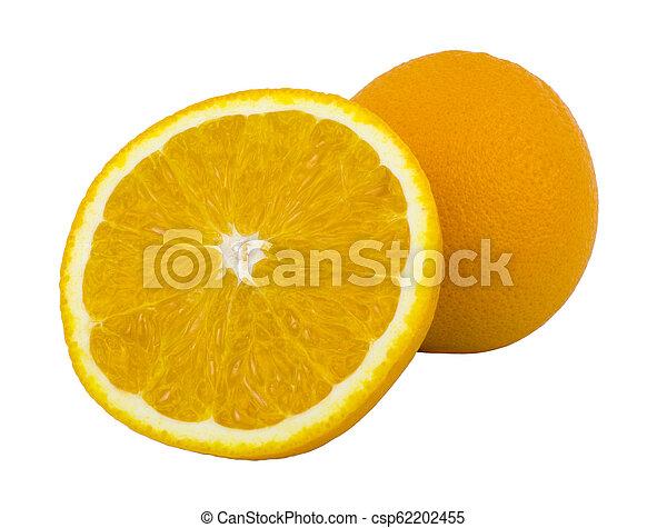fruit, vrijstaand, voedsel., achtergrond., sinaasappel, witte  - csp62202455