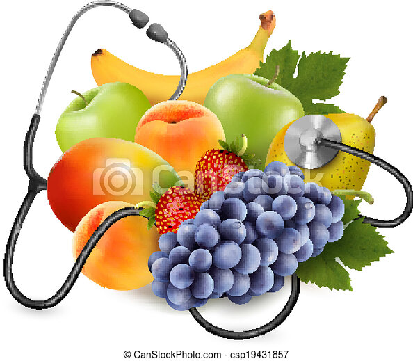 Fruit with a stethoscope. Healthy eating concept. Vector. - csp19431857