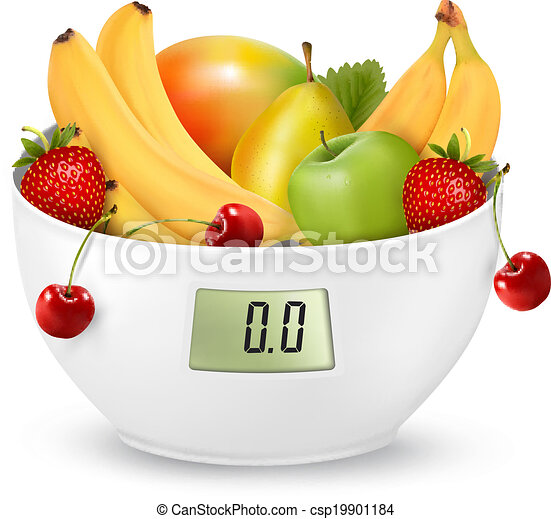 Fruit with in a digital weight scale. Diet concept. Vector. - csp19901184