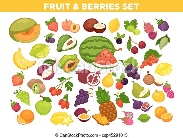 Fruits and berries vector isolated icons set - csp45291015