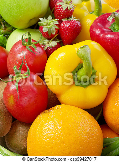 Fruits and vegetable background - csp39427017