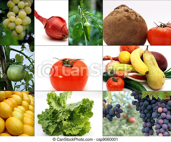 fruits and vegetable collage - csp9060001