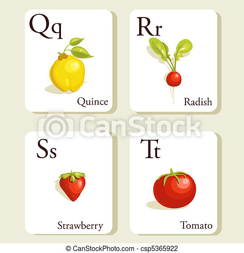 Fruits and vegetables  alphabet cards - csp5365922