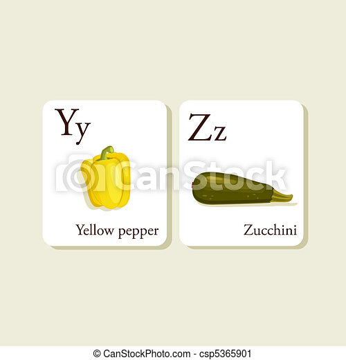 Fruits and vegetables alphabet cards - csp5365901