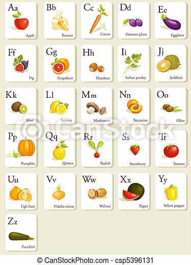 Fruits and vegetables  alphabet cards - csp5396131