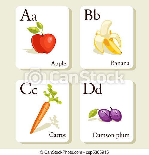 Fruits and vegetables  alphabet cards - csp5365915