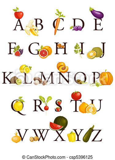 Fruits and vegetables  alphabet - csp5396125