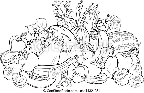 Fruits And Vegetables For Coloring Book. Black And White Cartoon  Illustration Of Fruits And Vegetables Big Group Food Design CanStock