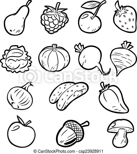 fruits and vegetables for coloring vector