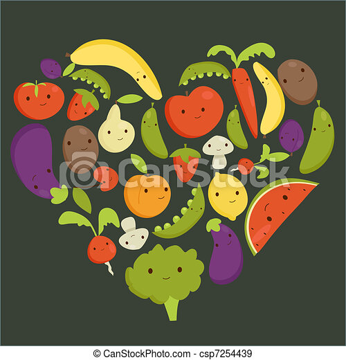 Fruits and vegetables heart shape - csp7254439