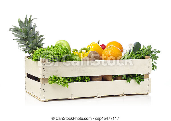 Fruits and vegetables in a crate - csp45477117