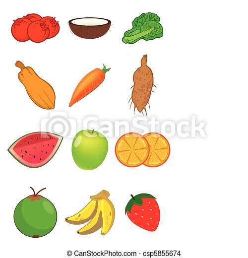 Fruits and Vegetables in vector - csp5855674