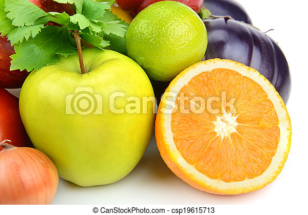 fruits and vegetables on a white background - csp19615713