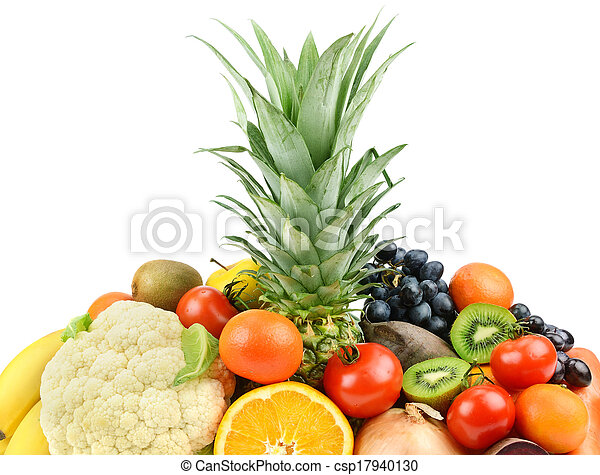 fruits and vegetables on white background - csp17940130
