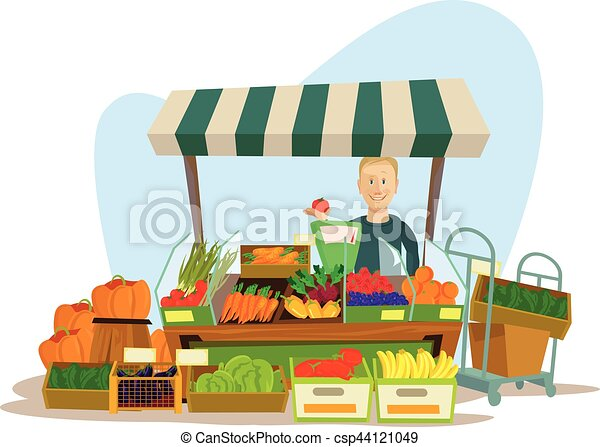 Fruits and vegetables seller man character. Vector flat cartoon illustration - csp44121049