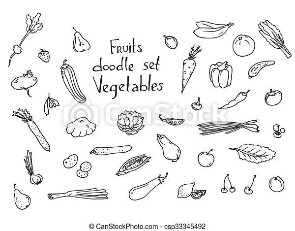 Fruits and vegetables Sketch set - csp33345492