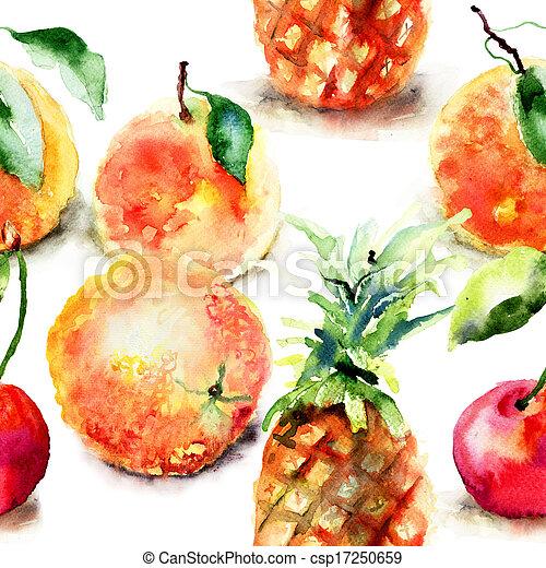fruits, aquarelle, illustration, exotique - csp17250659