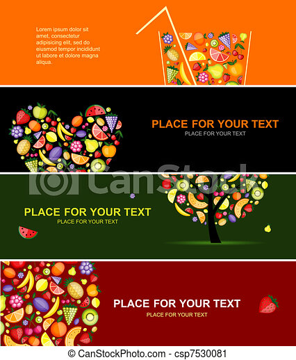 Fruits banners horizontal for your design - csp7530081