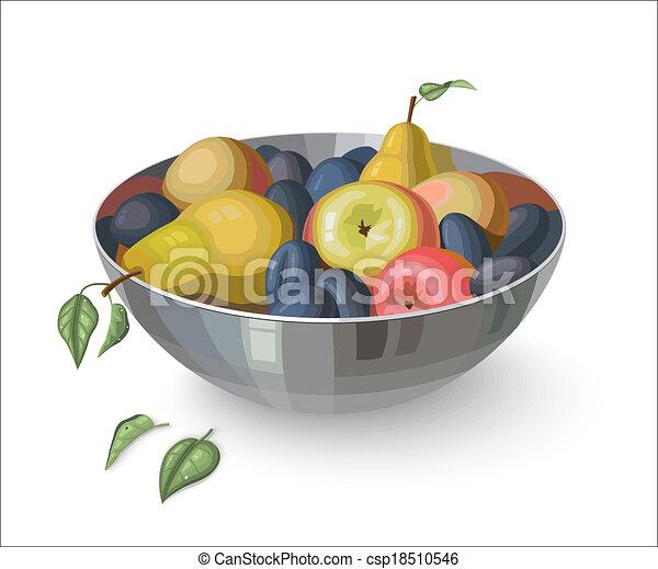 Tazón con frutas, aislado en blanco - csp18510546