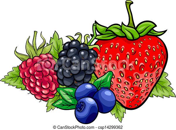 La ilustración de dibujos animados de frutas de bayas - csp14299362