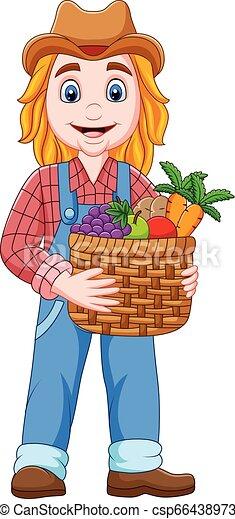 Una granjera de dibujos animados sosteniendo una canasta de vegetales y frutas - csp66438973