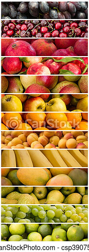 Fruits Colorful Fruit Mix Food Collage