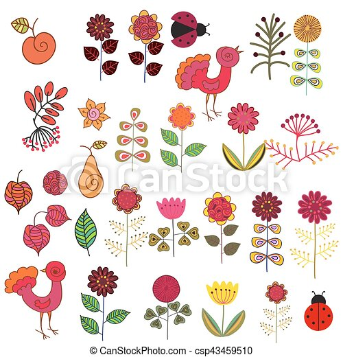 Fruits Flowers And Birds Set Set Of Hand Drawn Flowers And Birds