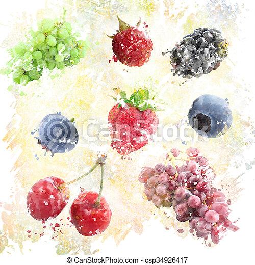 fruits, fond, aquarelle - csp34926417