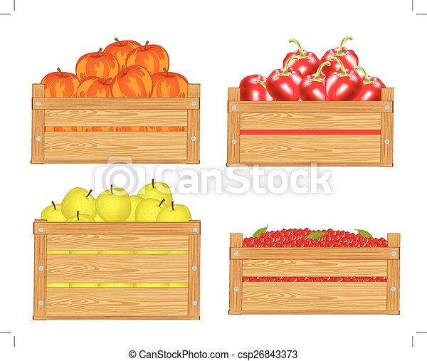 Fruits In Box Boxes With Fruit And Berry On White Background