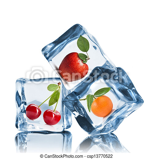 fruits in ice cubes isolated on white - csp13770522