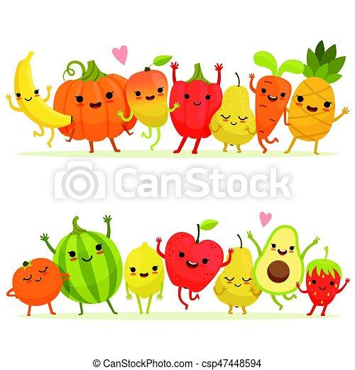 Fruits Légumes Group Vecteur Faces Sourire Heureux Dessin Animé Mascottes