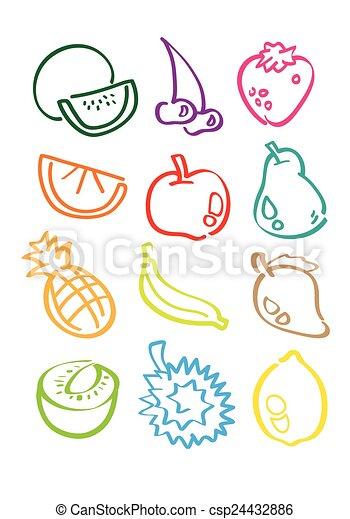 Fruits Minimalist Vector Sketch - csp24432886