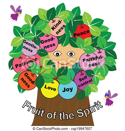 word fruits of the spirit with tree and fairy rh canstockphoto com Fruit of the Spirit Christian fruit of the holy spirit clipart