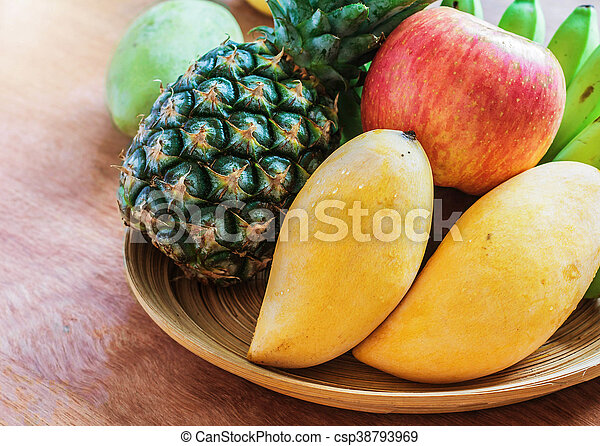 fruits on a plate. - csp38793969