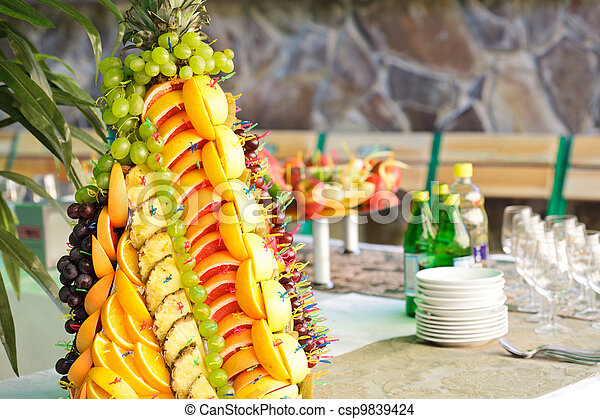 Fruits on silver stand - csp9839424