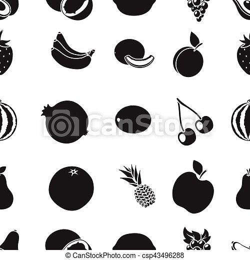 Fruits pattern icons in black style. Big collection of fruits vector symbol stock illustration - csp43496288