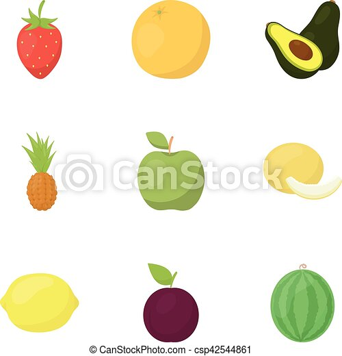 Fruits set icons in cartoon style. Big collection of fruits vector symbol stock illustration - csp42544861