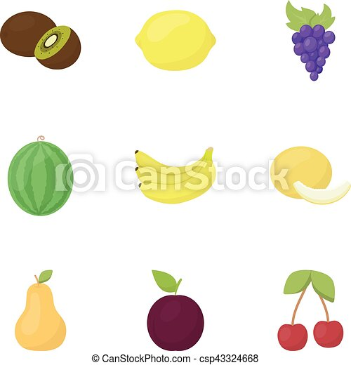 Fruits set icons in cartoon style. Big collection of fruits vector symbol stock illustration - csp43324668