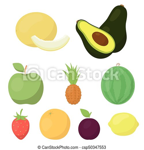 Fruits set icons in cartoon style. Big collection of fruits vector symbol stock illustration - csp50347553