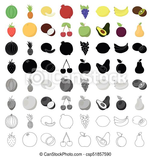 Fruits set icons in cartoon style. Big collection of fruits vector symbol stock illustration - csp51857590