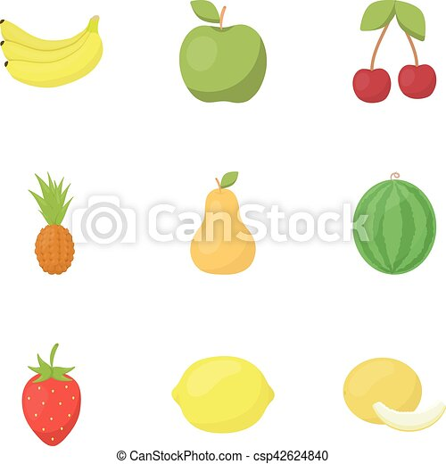 Fruits set icons in cartoon style. Big collection of fruits vector symbol stock illustration - csp42624840