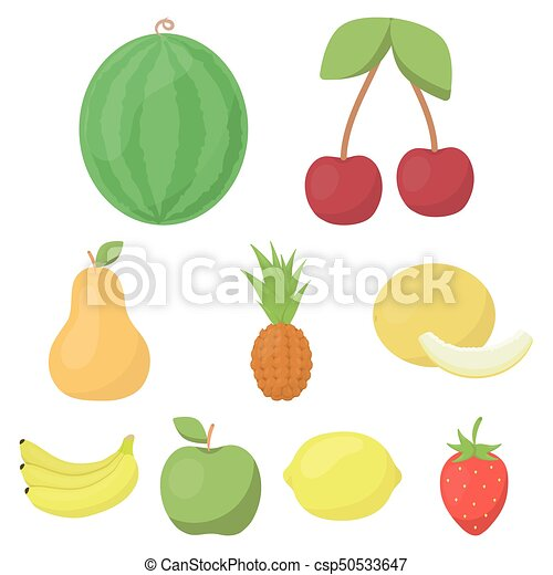 Fruits set icons in cartoon style. Big collection of fruits vector symbol stock illustration - csp50533647